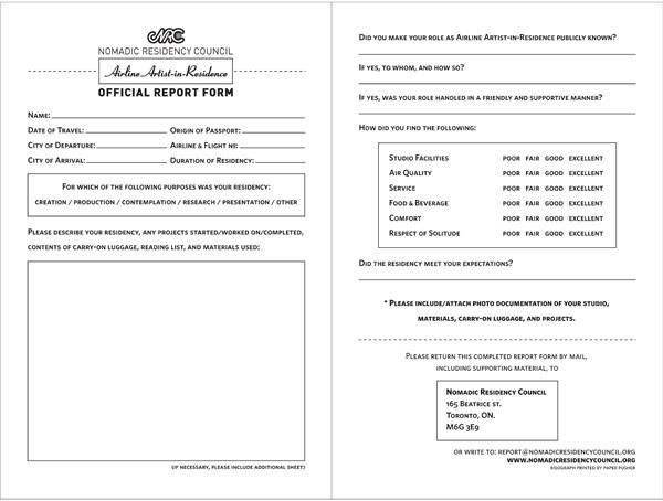 Nomadic Residency Council <em>Artist-In-Residence Report Form</em>, Ongoing