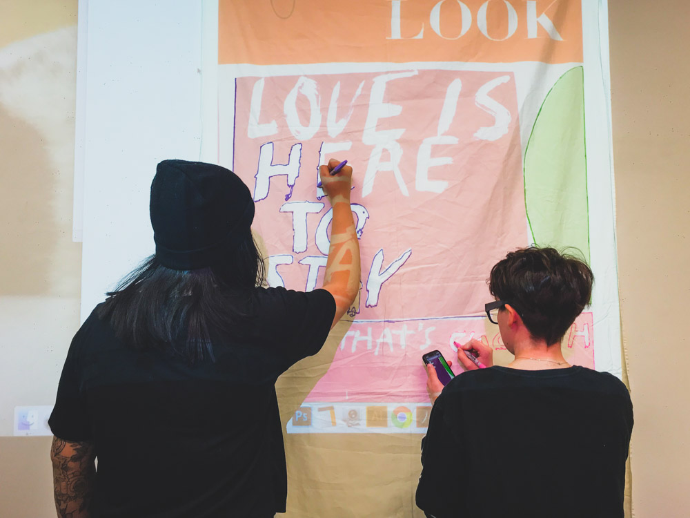 CwC (4)Preparing banners for LA