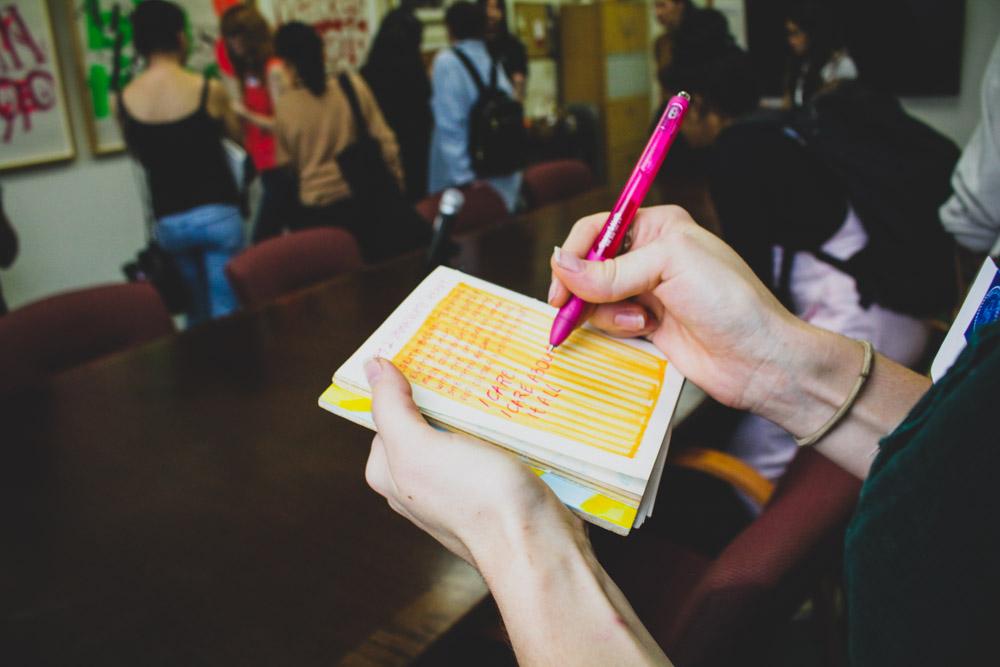 CwC (6) Visit Corita Art Center - Megan Moore taking notes