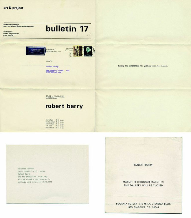 Robert Barry Closed Gallery Piece, 1969-1970